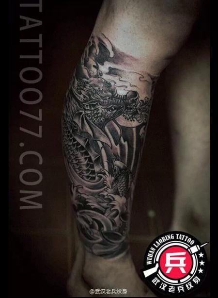 龙包腿纹身_大图_上海由龙刺青_纹身图案