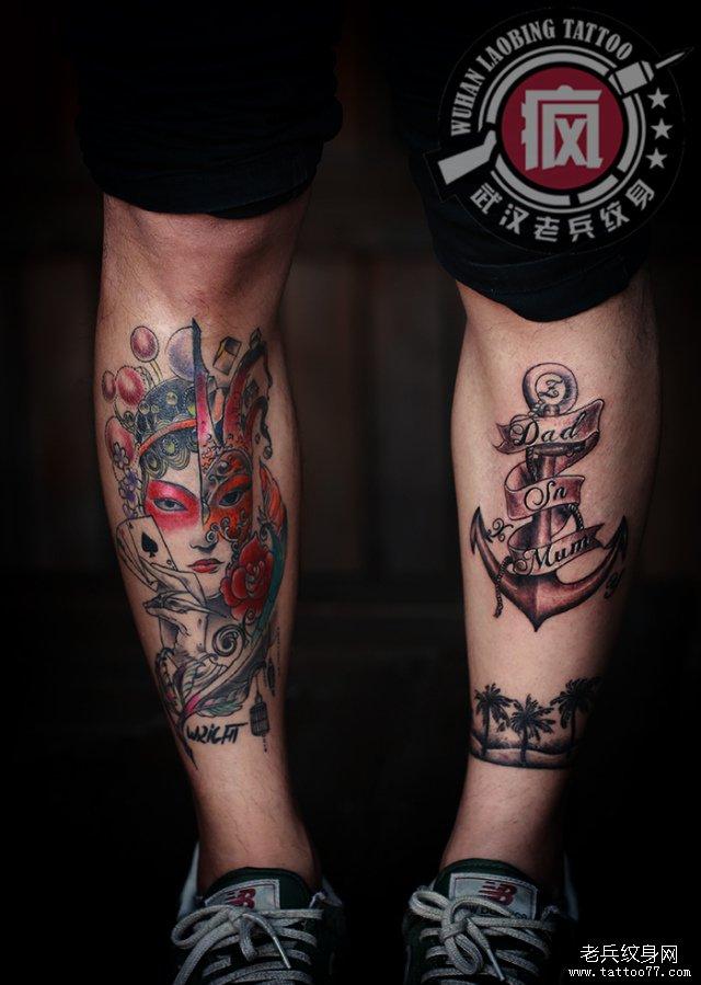 小腿船锚纹身图案作品