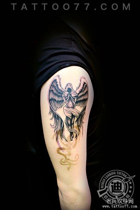 手臂天使纹身图片作品