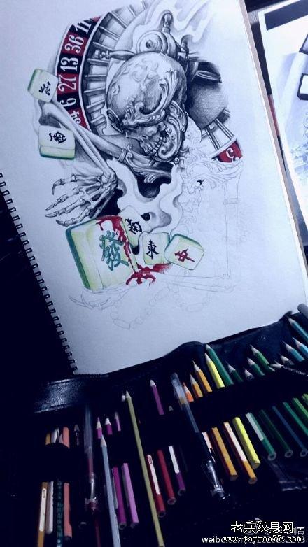 骷髅亲吻脚部麻将纹身图案图片