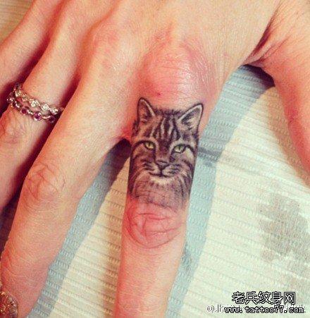 手指头清新小可爱小猫咪纹身图案
