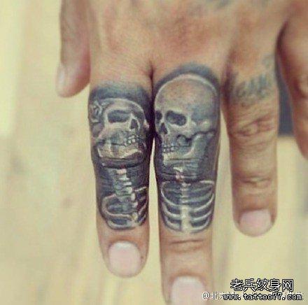 手背纹身骷髅手指分享展示