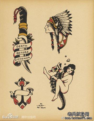 印第安风格小清新迷你可爱纹身图案