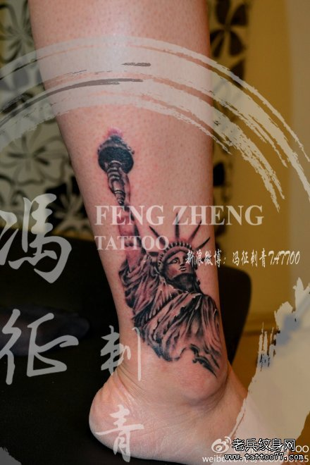 黑红点刺自由女神纹身图案