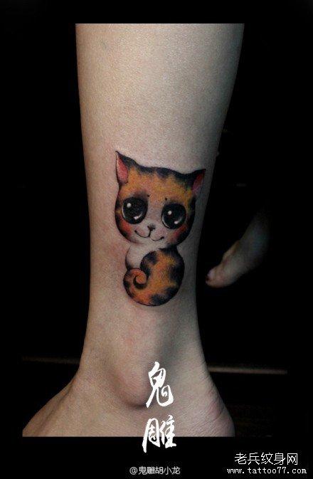 腿部可爱之极小猫咪纹身图案