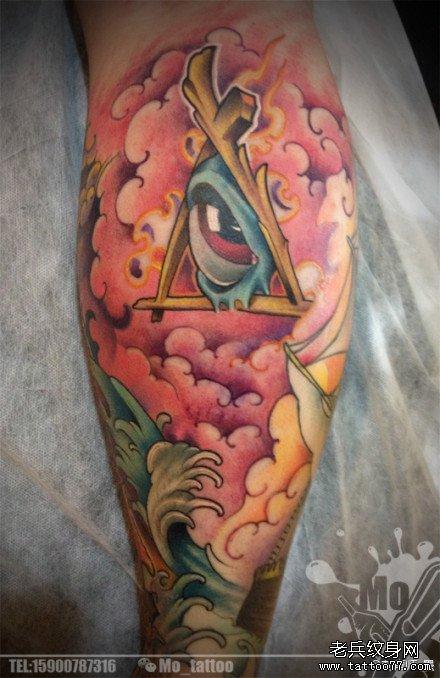 胳膊彩色霸气上帝之眼纹身图案