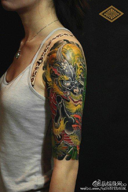 金毛麒麟手臂纹身图案图片