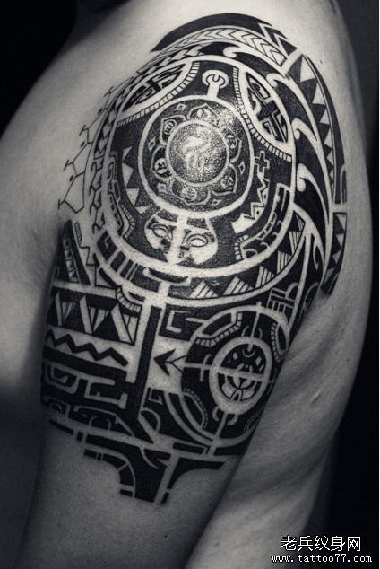 毛利图腾胳膊纹身图案图片