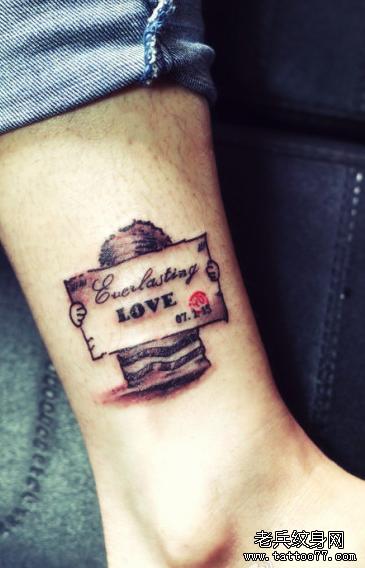 love腿部纹身图案