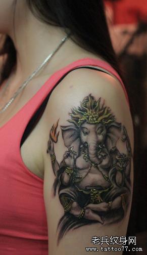大象女胳膊纹身图案图片