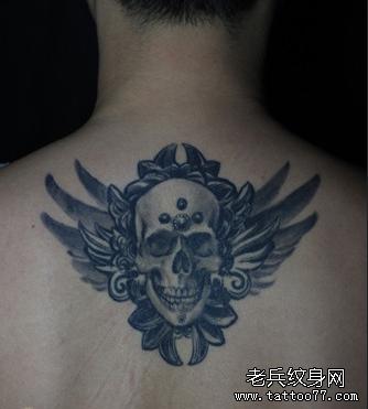 后背天使骷髅纹身图案