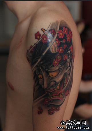 胳膊红鬼纹身图案