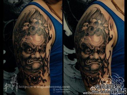 传统霸气不动冥王手臂纹身