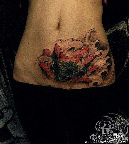 腹部红莲花纹身图案