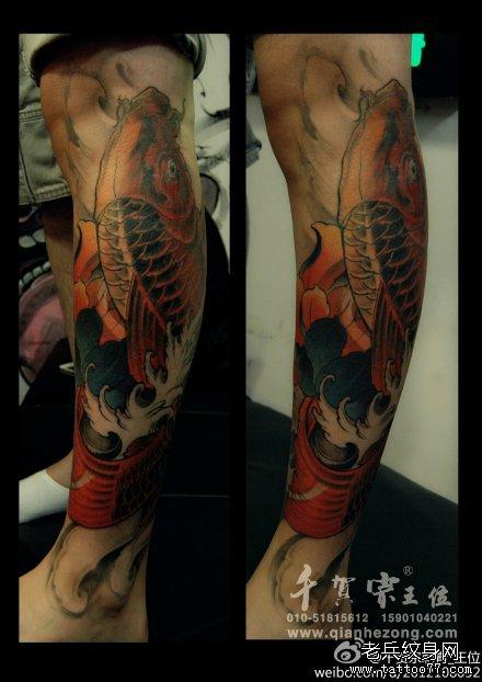 腿部红鲤鱼纹身图案图片