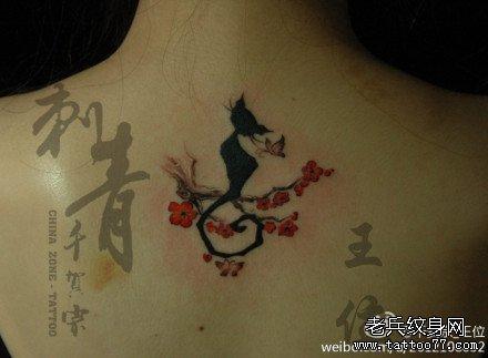 黑猫纹身简笔画