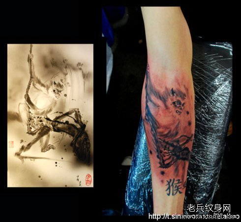 手臂美猴王纹身图案