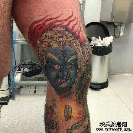 不动明王纹身手稿腿部分享展示