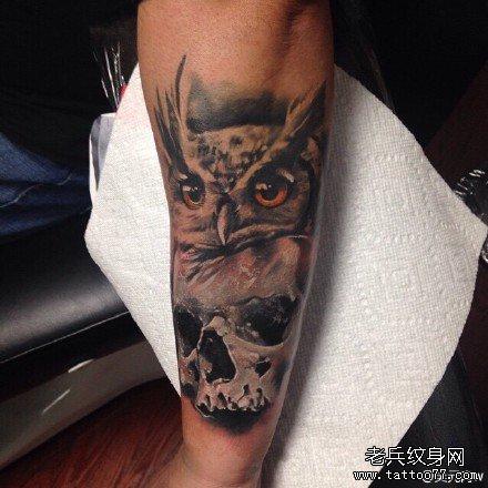 胳膊猫头鹰纹身图案