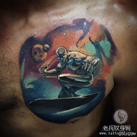 腿部水浪黄骷髅纹身图案
