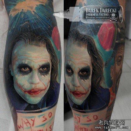 腿部恶魔小丑肖像纹身图案