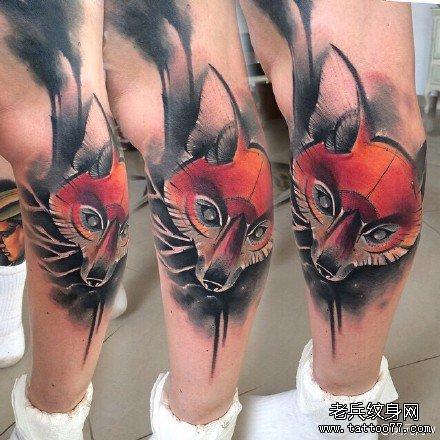 腿部狐狸纹身图案大全展示