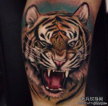 半胛猛虎纹身图案