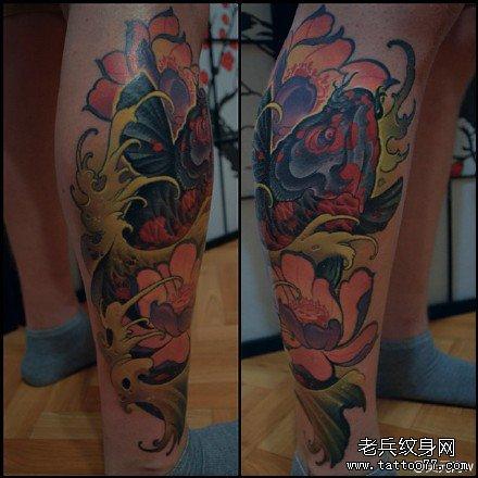腿部花鲤鱼纹身图案图片