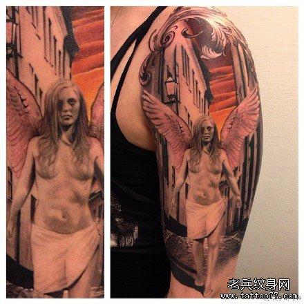 胳膊天使纹身图案