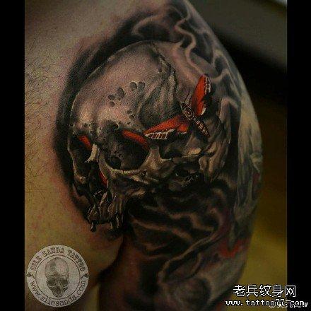 半胛远古骷髅纹身图案