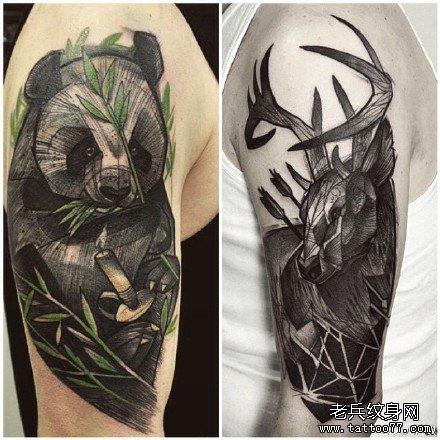 腿部熊猫纹身图案图片