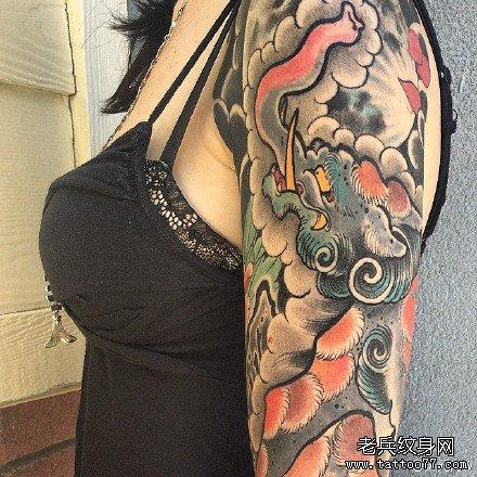 胳膊象龙纹身图案图片
