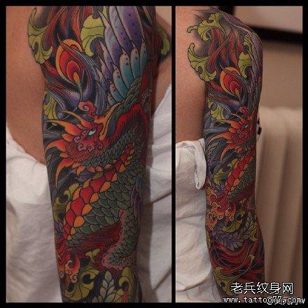 女孩子腰部一款图腾凤凰纹身图案图片
