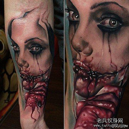 胳膊吸血鬼纹身图案图片
