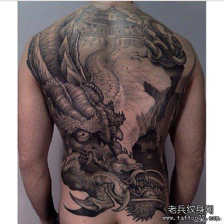 满背天龙城纹身图案
