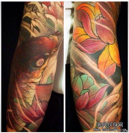 手臂大鲤鱼纹身图案