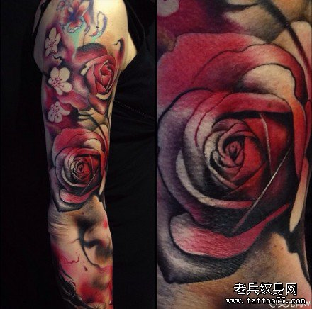 手臂玫瑰纹身图案
