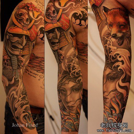 手臂日本武士狐狸纹身图案