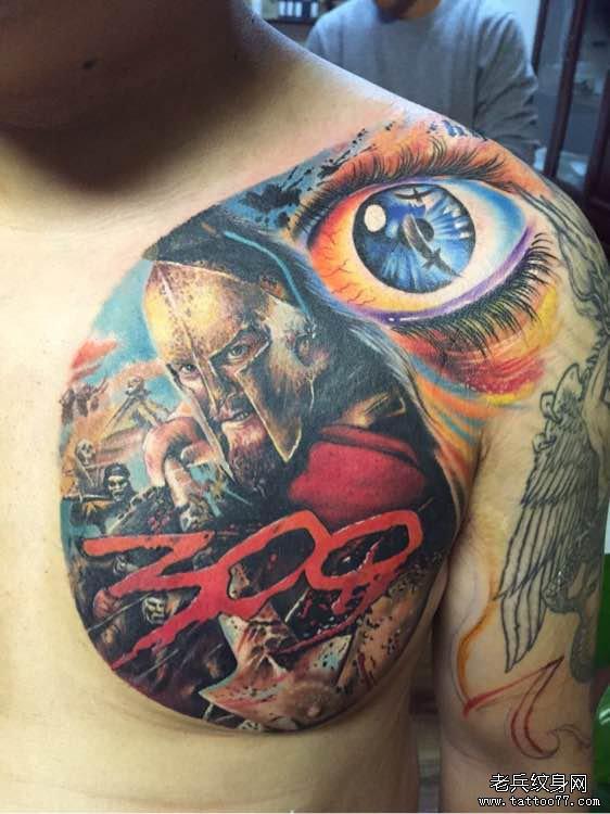 这款斯巴达勇士纹身图案,在写实的纹身中十分的到位生动,在人物的刻画
