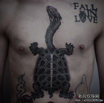 胸部乌龟纹身图案