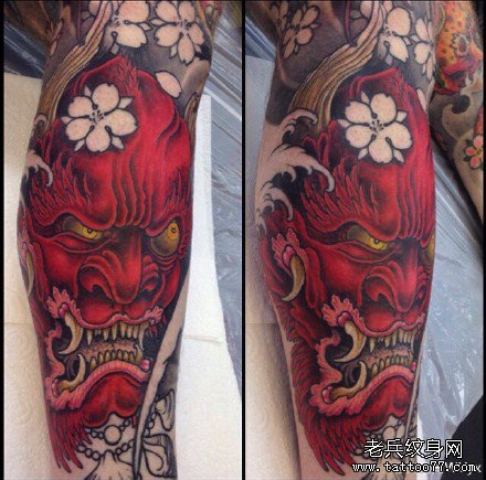 腿部红鬼纹身图案图片