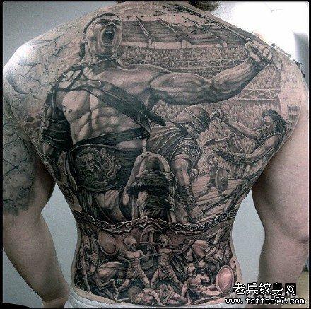 满背古代战争纹身图案图片