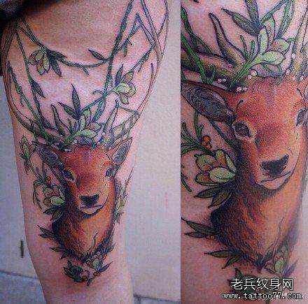 腿部鹿纹身图案图片