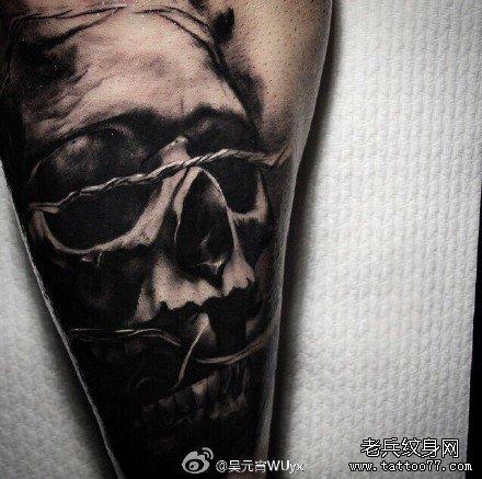 满背霸气黑暗骷髅纹身图案图片