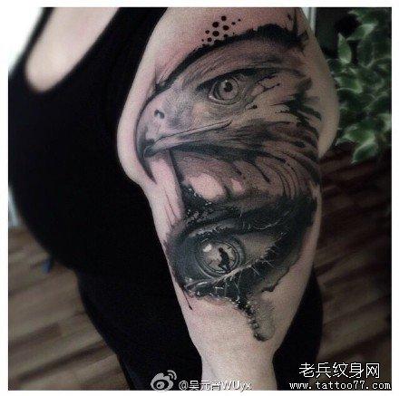 手部猫头鹰纹身图案