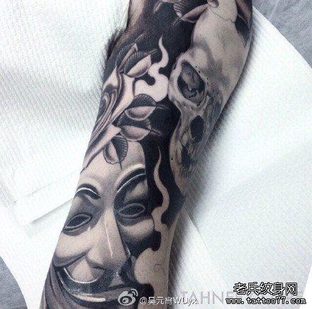 腿部笑面脸骷髅纹身图案