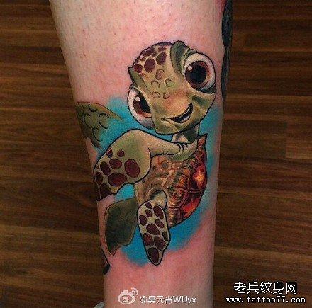 腿部萌乌龟纹身图案