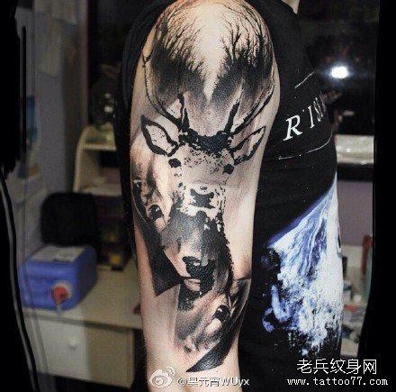 手臂动物纹身手绘大全