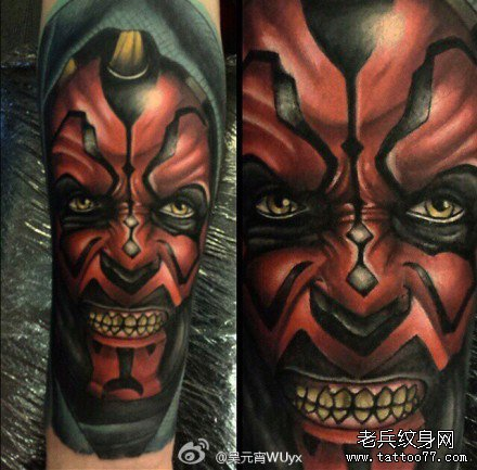 手臂星球大战怒肖像纹身图案