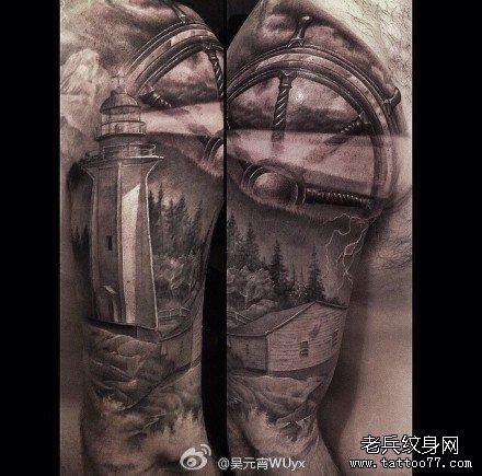 手臂塔灯纹身图案